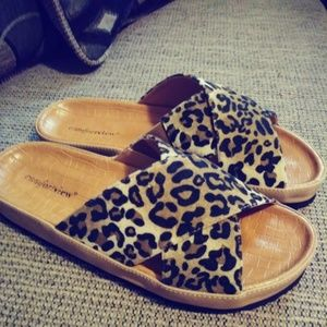 Shoes - Animal Print Slides-NWOT